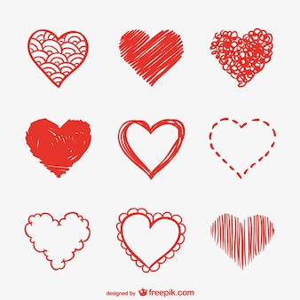 Heart sketches vector pack
