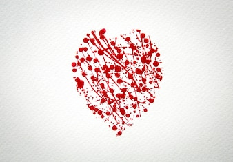 Heart with splash of red watercolor