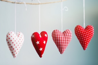 Hearts hanging from a rope