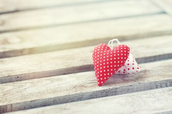Hearts on a wooden table