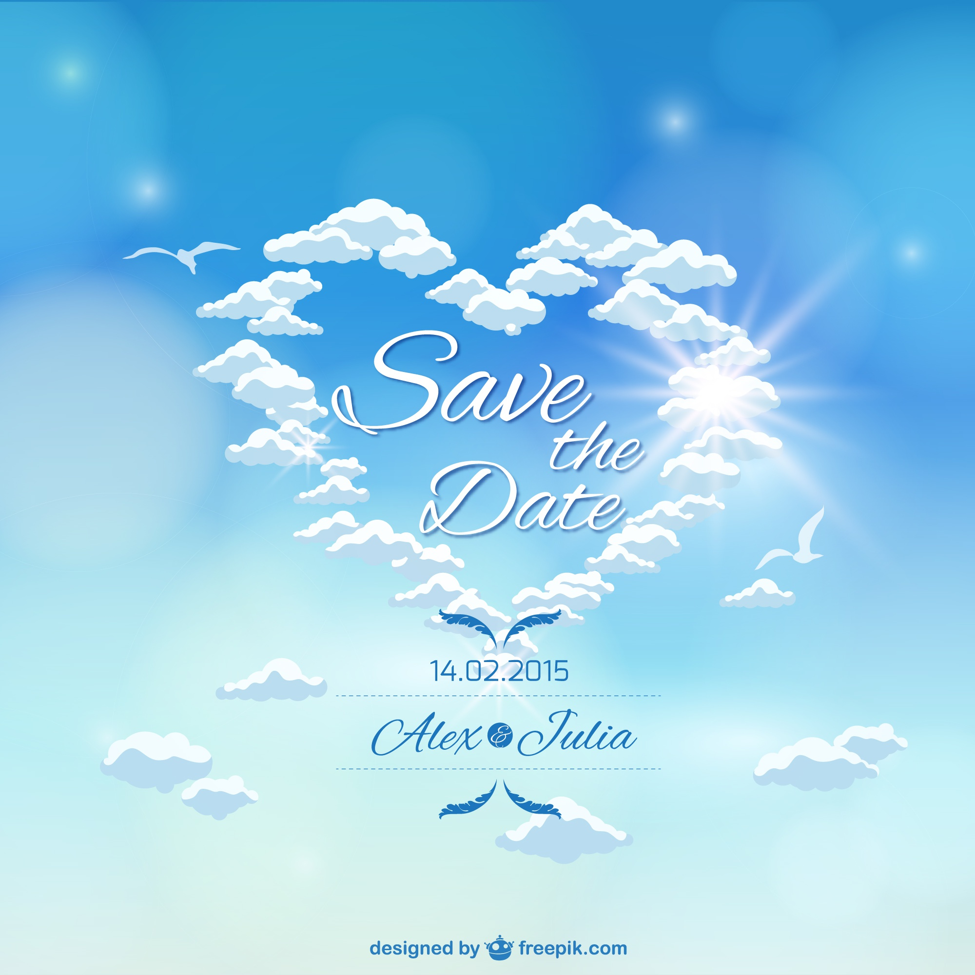 Heaven sky wedding invitation