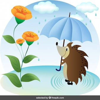Hedgehog with umbrella