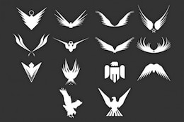 Heraldic silhouette of eagles and birds