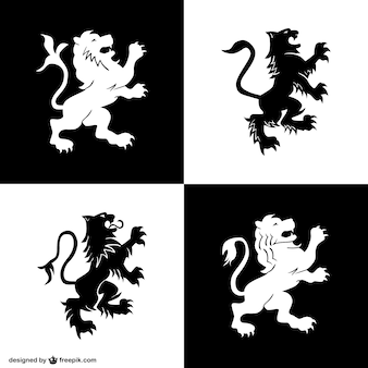 Heraldry lion symbols set