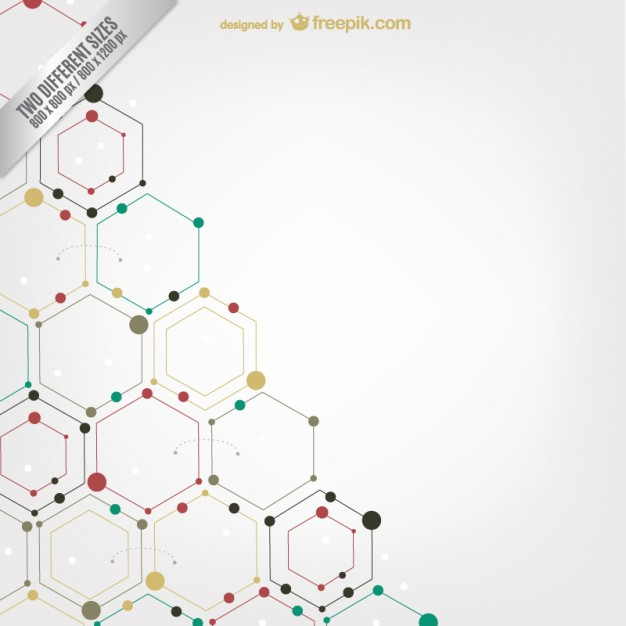 Hexagons and dots background