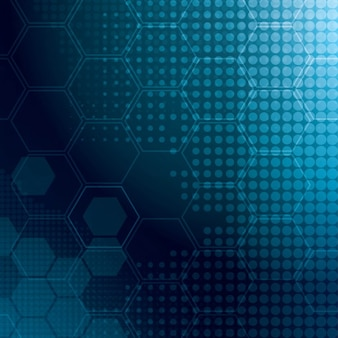 Hexagons with soft glow abstract background