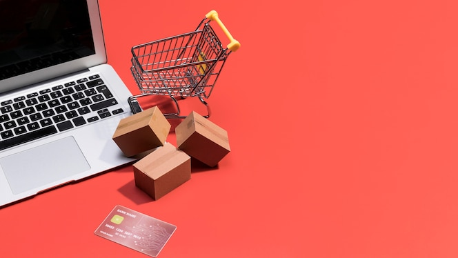 High angle of online shopping with copy space