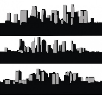 High rise city skyline silhouettes