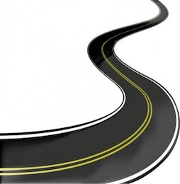 highway road crossing the middle line vector