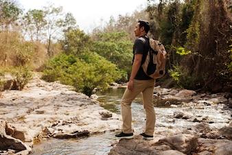 Hiker exploring nature