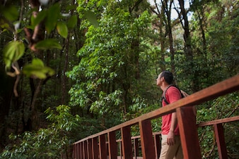 Hiker looking above on a bridge