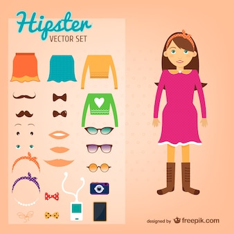 Hipster girl vector set