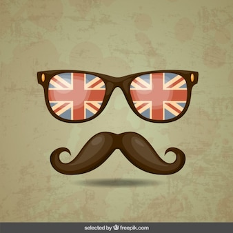 Hipster moustache and glasses