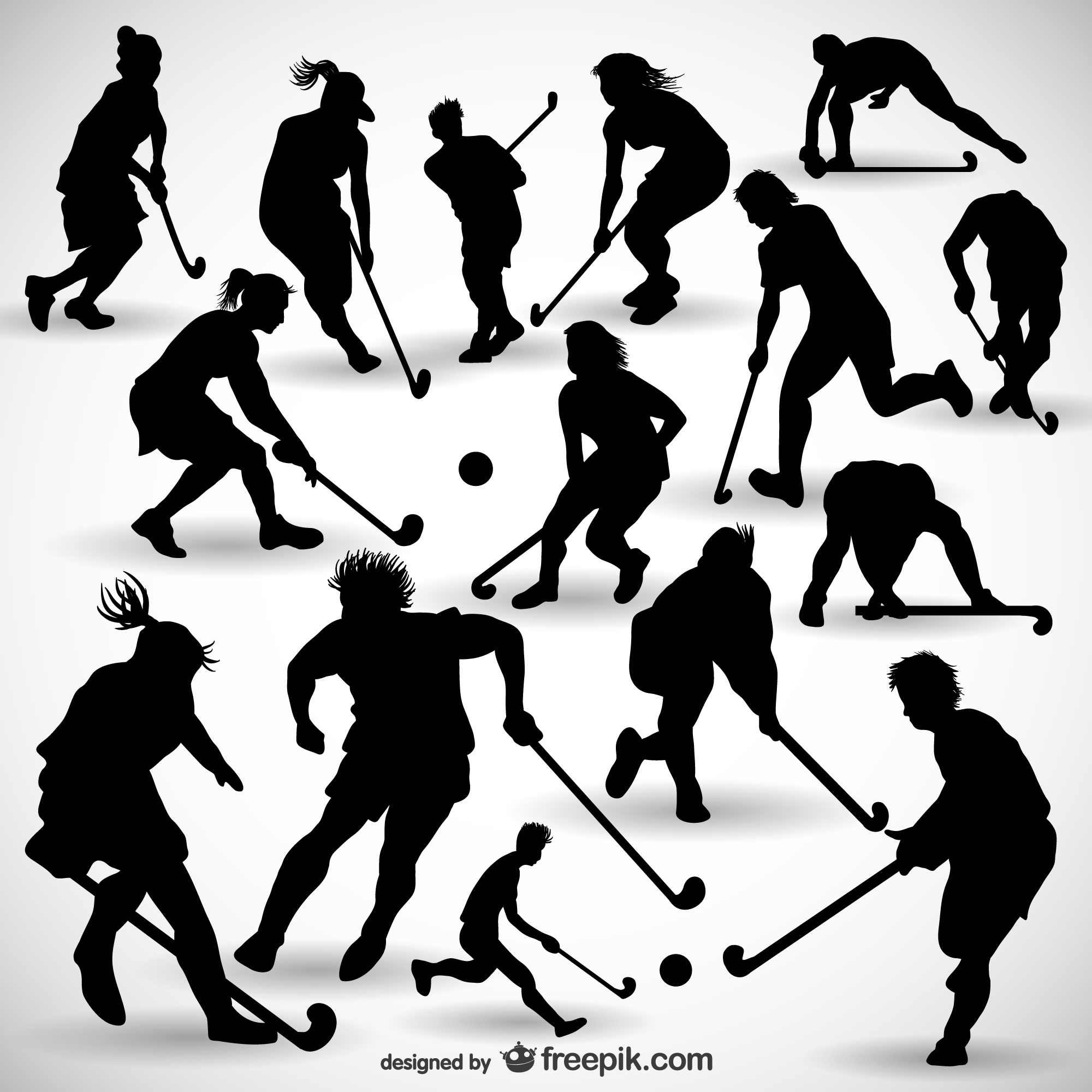 Hockey player silhouettes pack