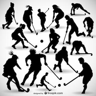 Hockey players silhouettes set