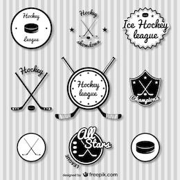 Hockey retro badges set