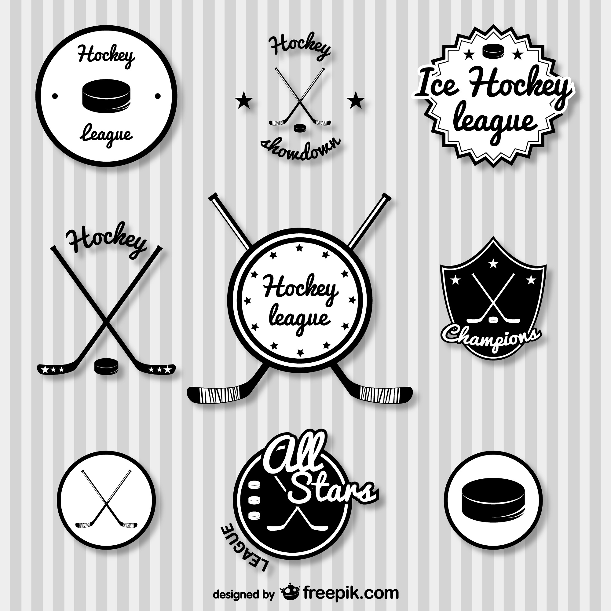Hockey retro badges set