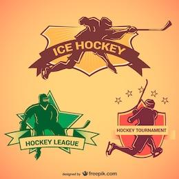 Hockey retro emblems set