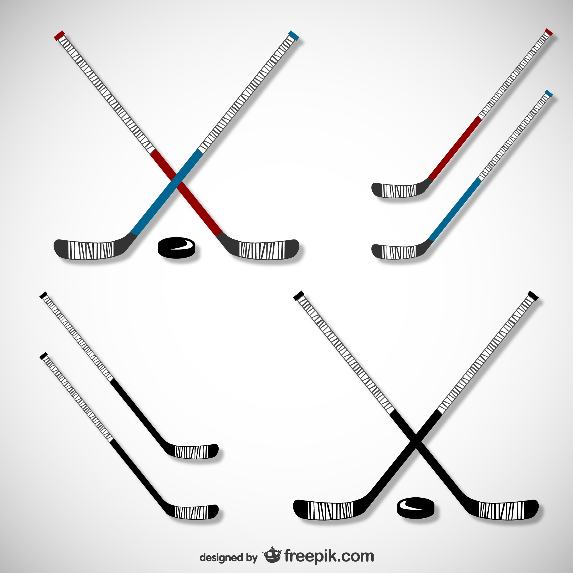 Hockey sticks and pucks set