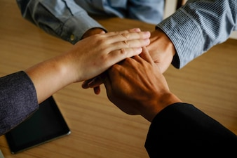 Holding meeting agreement togetherness variation hand