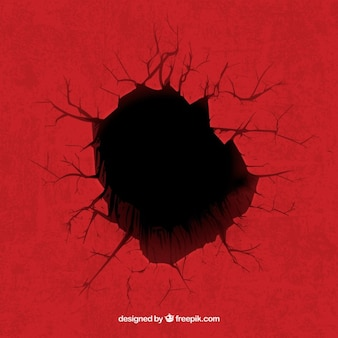 Hole on red background