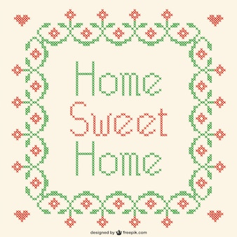 Home sweet home cross-stitch vector