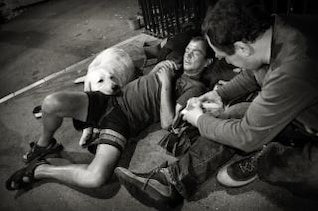 homeless men with dog
