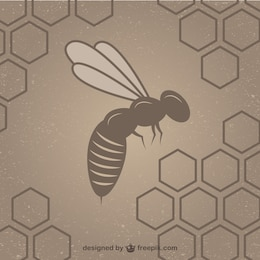 Honeycomb with bee background template
