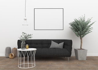 Horizontal frame in scandinavian room