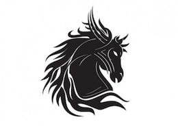 Horse head silhouette tribal tatoo template