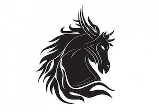 Horse head silhouette tribal tatoo template