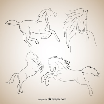 Horse outline drawings
