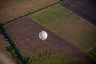 Hot air balloon seen from above