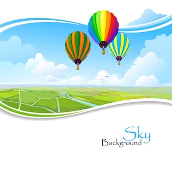 hot air balloons flying over frame wavy landscape