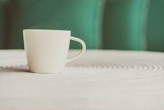 Hot wooden mug espresso white