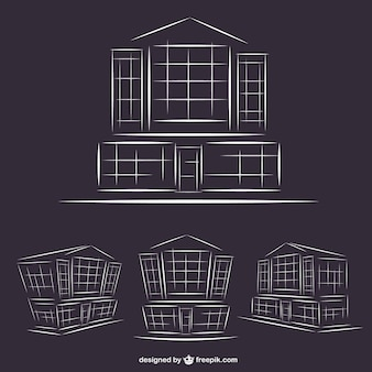 Hotel buildings line art graphics