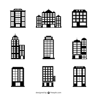 Hotel buildings vector set