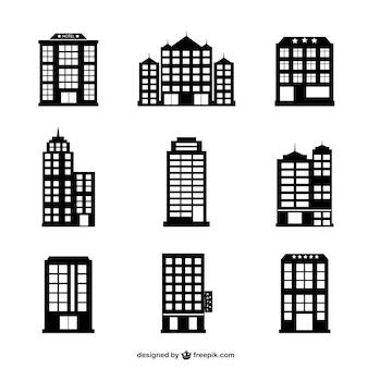 Hotel buildings vector set