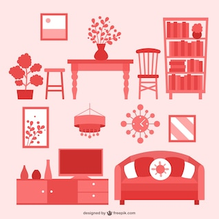 House furniture flat icons pack