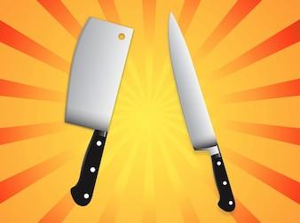 household metal Kitchen knives set vector