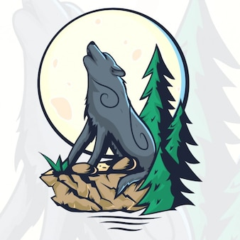 Howling wolf and moon