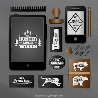 Hunter concept vector set