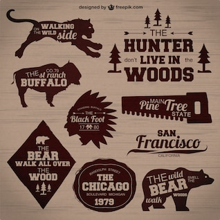 Hunting badges vector set