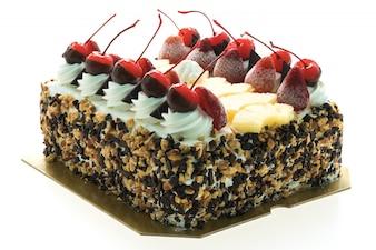 Ice cream cake with cherry on top
