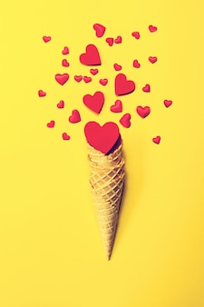 Ice cream cone with hearts