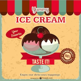 Ice cream free retro vector