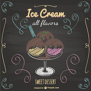 Ice cream vector blackboard design