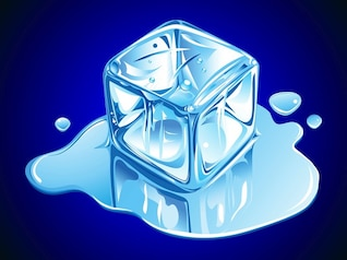 Ice cube melting drops water