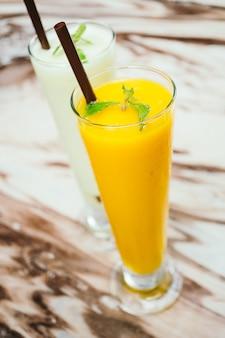 Iced Mango smoothie glass
