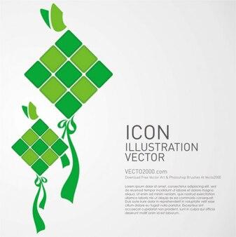 Icon Illustration Ketupat Vector
